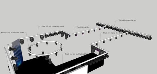 Sơ đồ bố trí hệ thống đèn đã được thi công lắp đặt