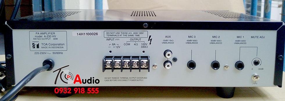 Mặt sau amplyliền mixer Toa A 2030