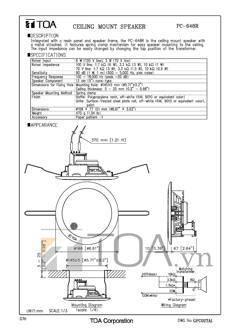 Bản thiết kế loa âm trần Toa PC 648R