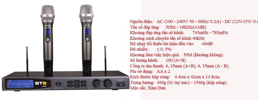 Micro không dây BTE K54