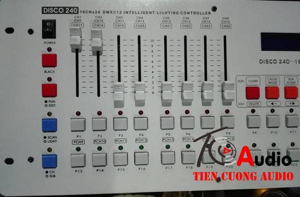 Bàn điều khiển đèn Disco DMX 240 mặt nghiêng